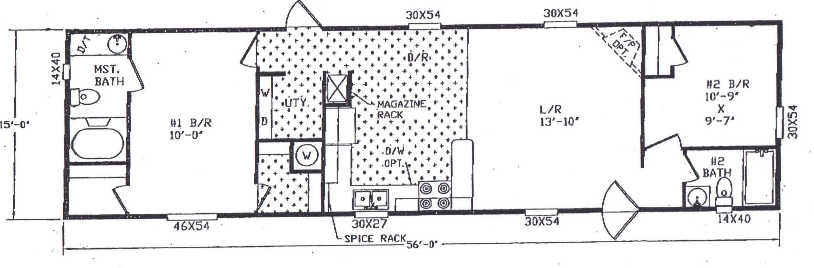 725CT Single Wide Mobile Home Floor Plan