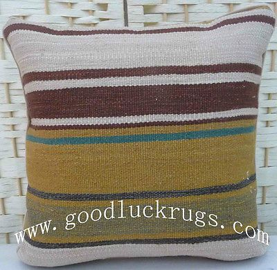 "12"" Wool Stripe Kelim Kilim Rug Decorative Throw Pillow Case Cushion Cover~New"