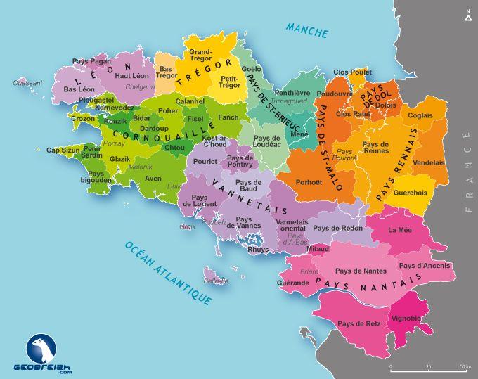La Carte Des Pays Traditionnels Bretons Breizhbook Carte