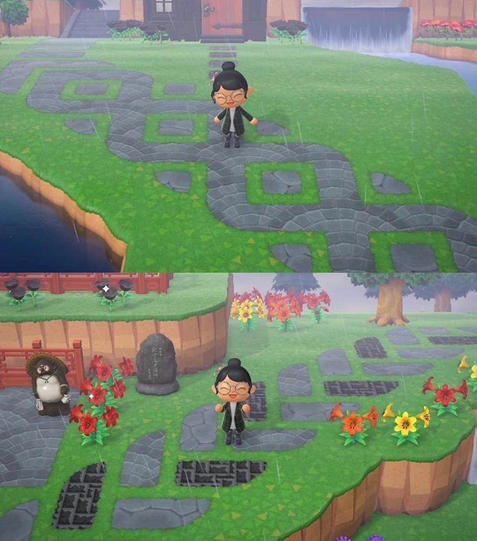 "Photo of Animal Crossing New Horizons on Instagram: ""Diagonal path designs 🖤 credit to KungFuabuttKicker on Reddit"""