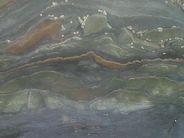 Close up of a boulder on a Cornish beach