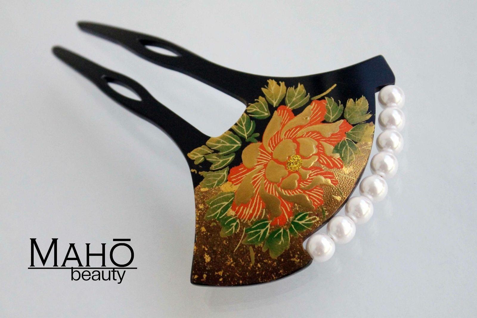 Gorgeous Japanese Kanzashi Comb Hair Pin Stick Maki E Gold Peony Lacquer Geisha | eBay
