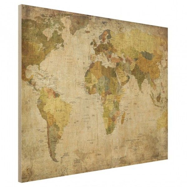 World Map Wood Print   Wood print, Map wall art and Vintage maps