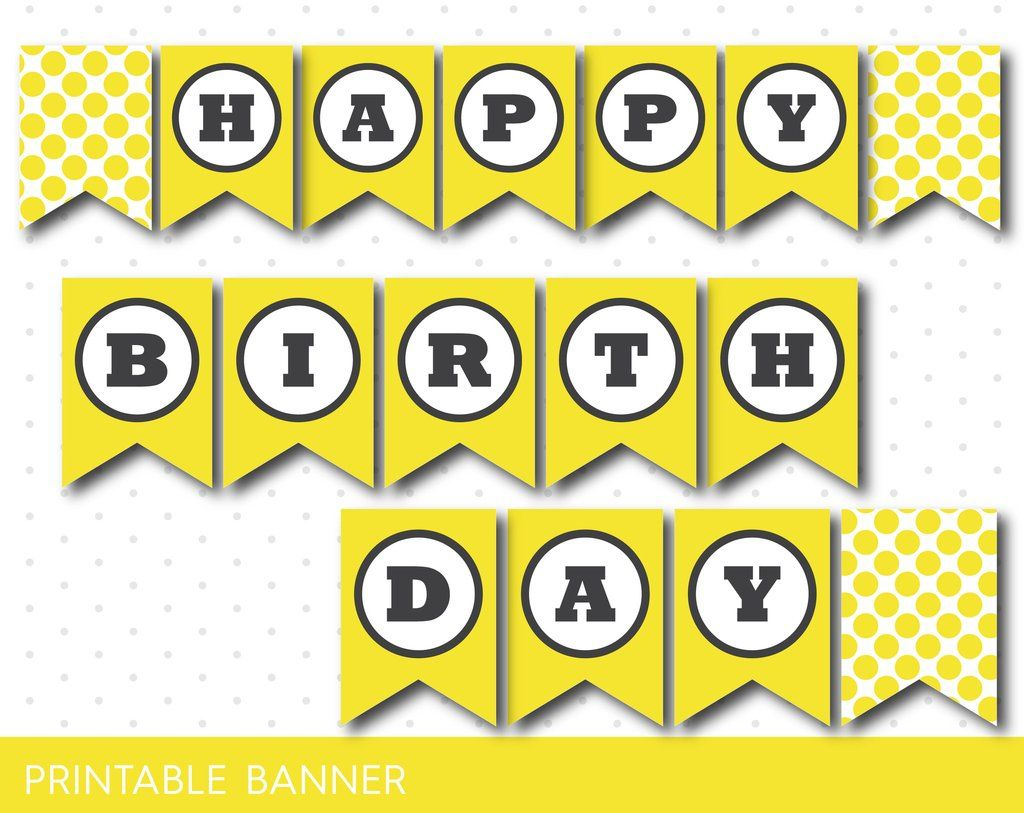 sunshine yellow happy birthday banner  printable polka dot