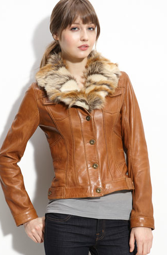Guess Leather Jacket with Faux Fur Collar Leather jacket