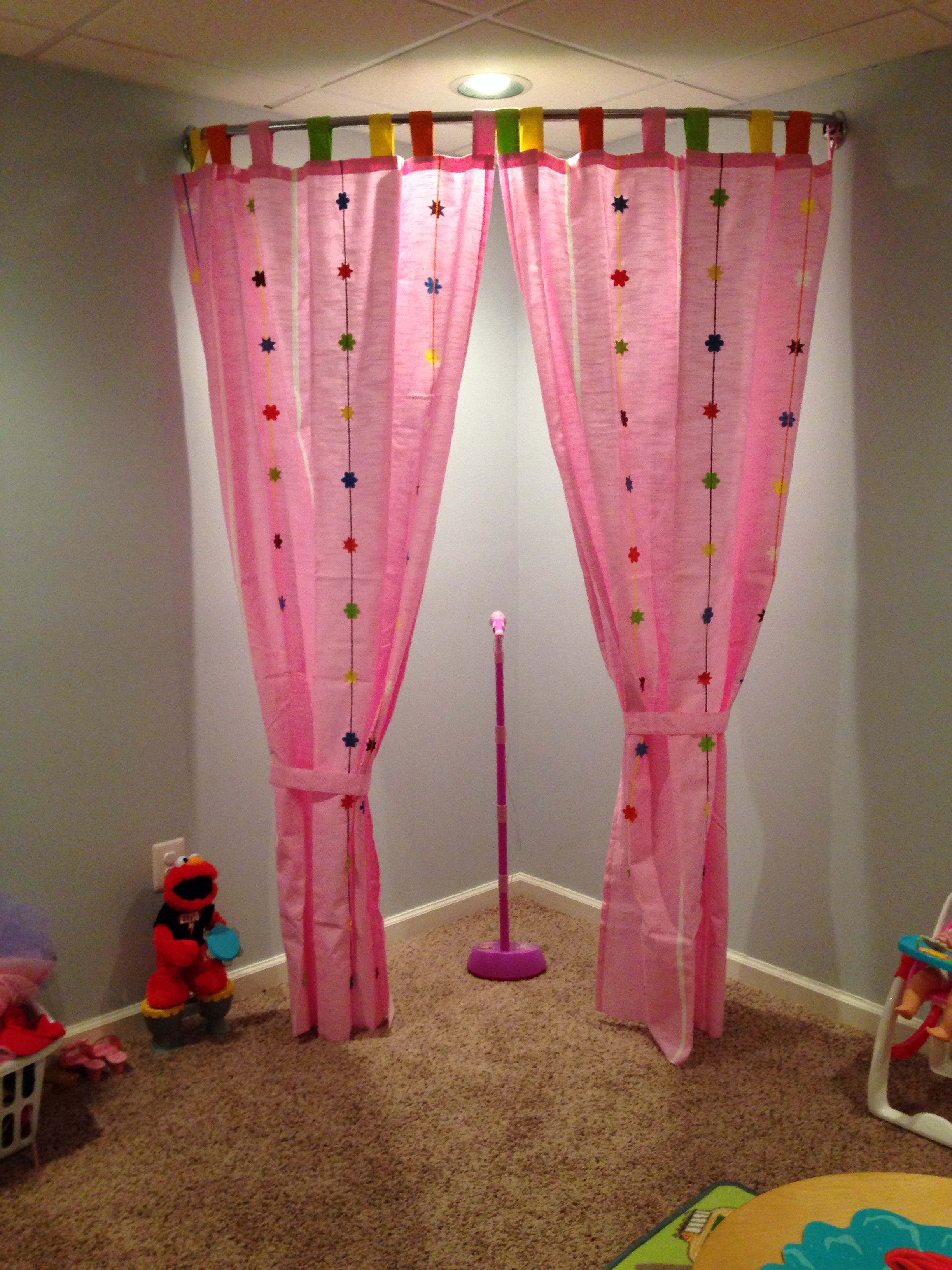 Here S A Playroom Stage Idea I Used Curved Shower Curtain Rod It Is Zenith Brand From The Curtains Are Ikea