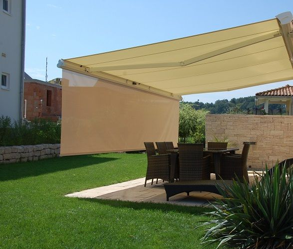 Some Retractable Awnings Are Designed With A Front Retractable Screen Valance That Can Be Lowered For Added Sun Control And Shading C Patio Pergola Patio Shade
