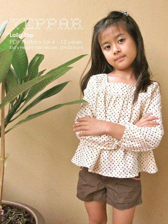 PDF Pattern - Laila for 4 - 10 years old | Costura, Ropa niña y Moda ...