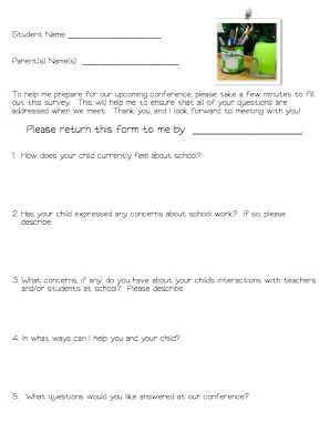 Form To Give Parents To Fill Out Before Conferences  Freebie