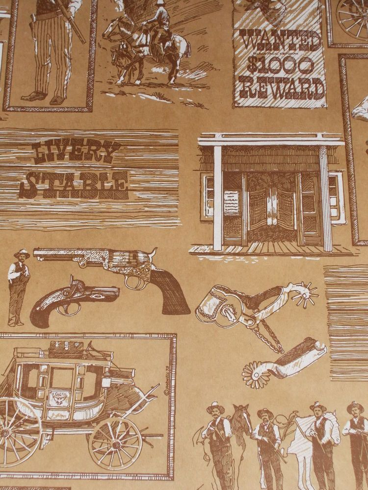 VTG COWBOY WESTERN WILD WEST WRAPPING PAPER GIFT WRAP 3 YARDS NICE