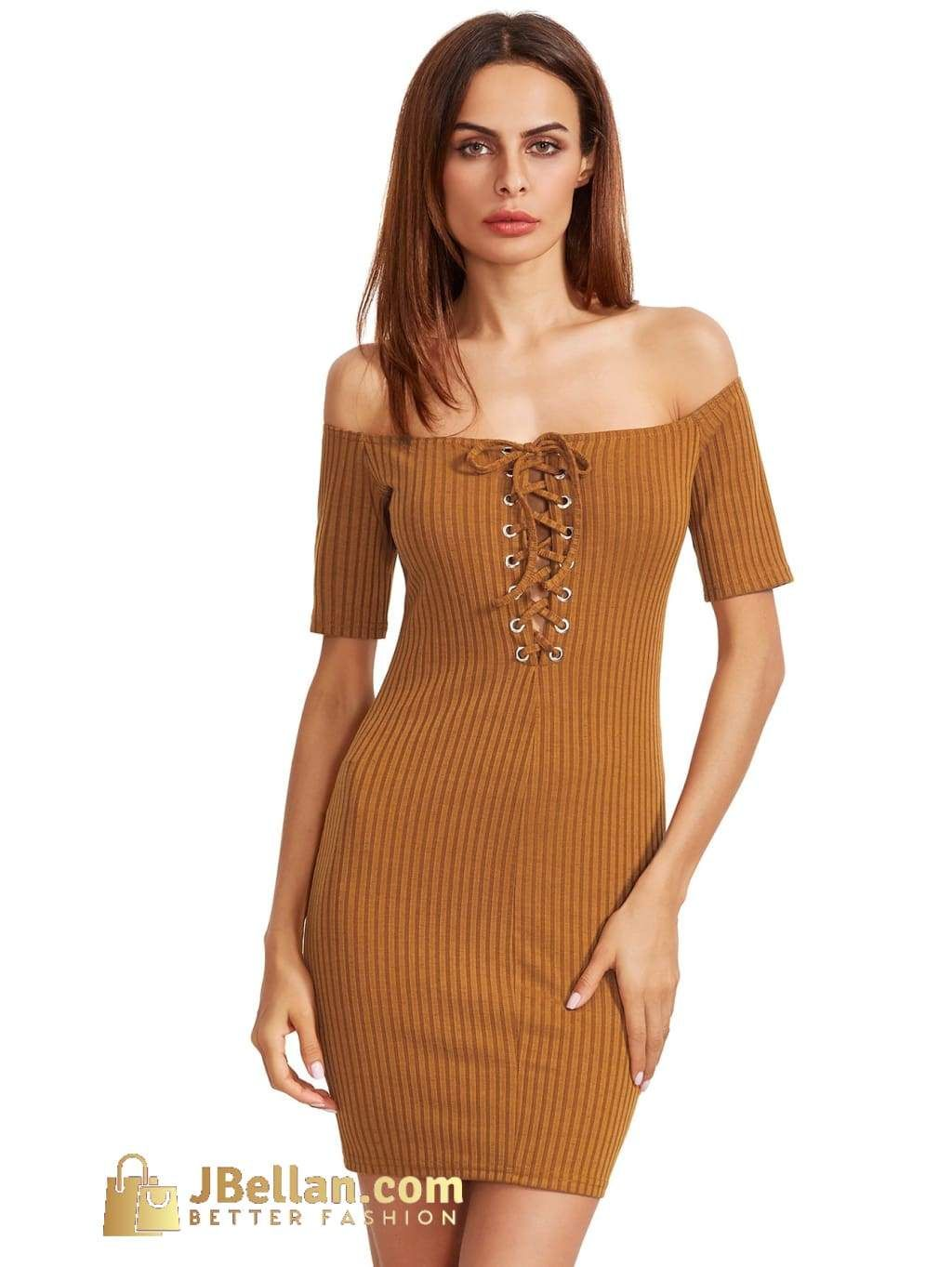 3afcdcf83ab9 Mustard Bardot Lace Up Bodycon Dress
