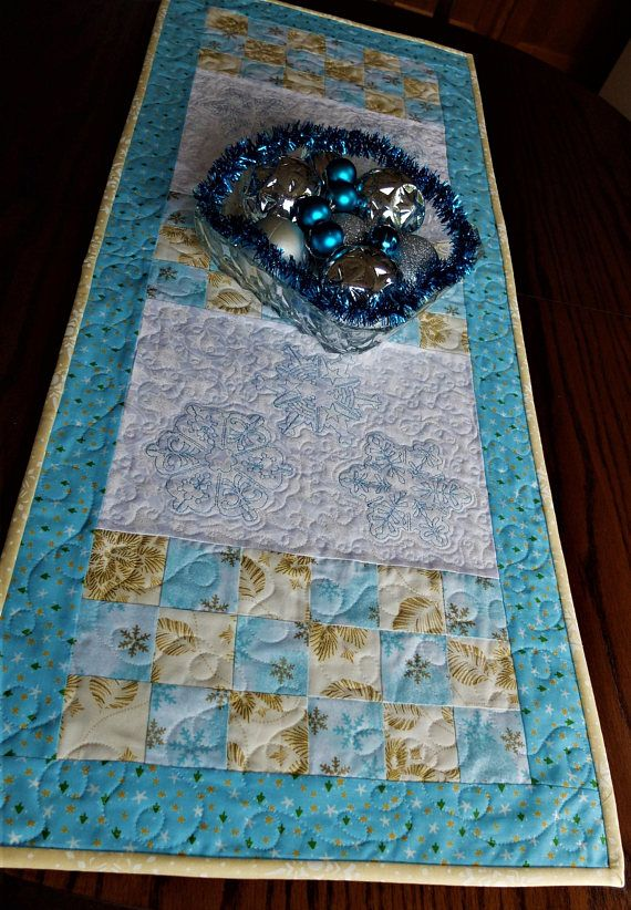 Snow Flakes Embroidered Christmas Quilted Tablerunner Christmas Table Decor Blue White And Gold Christmas Runner Christmas Table Decorations Christmas Table Quilted Table Runners