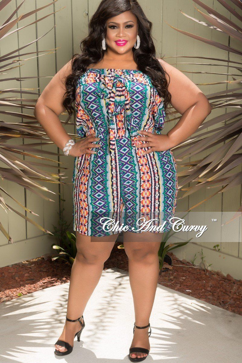 a37da4d0afa5 Plus Size Tube Romper with Attached Tie in Navy Magenta – Chic And Curvy