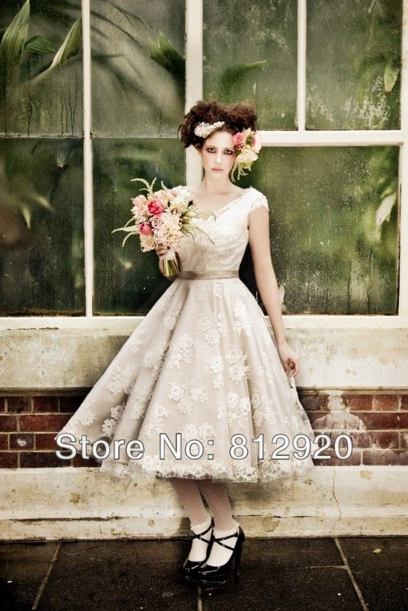 c84ae3ceb64b Aliexpress.com : Buy TSD113 Beach Casual V neck Tea Length Lace Tulle Short  Flower Wedding Dresses For Short Women from Reliable dresses for short  girls ...
