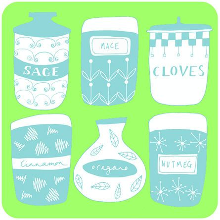 Set,of,four,'Spice,Jars',coasters,by,Rosa,&,Clara,Designs,Set of four 'Spice Jars' coasters by Rosa & Clara Designs