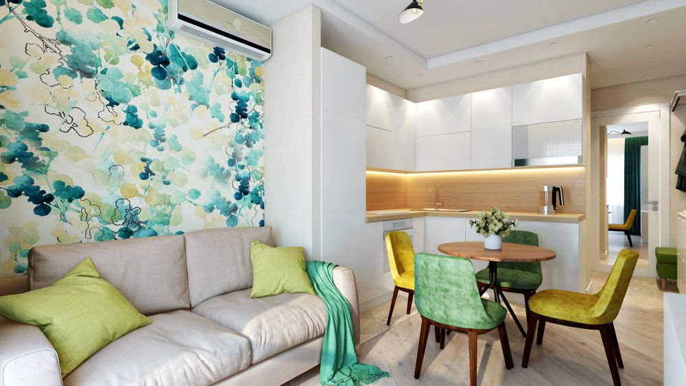 фото кухни комнаты дизайн с яркими обоями любимой маме