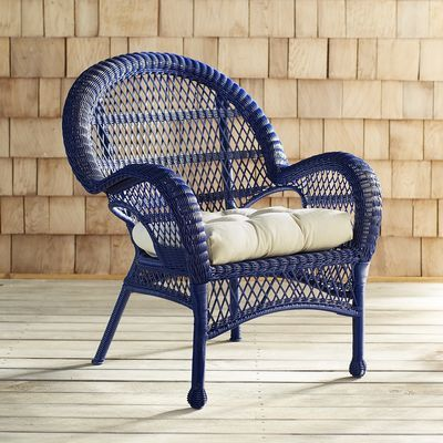 It's always comfortable in Santa Barbara. Our crisp, classic chair is hand-woven of all-weather rattan over a durable, rust-resistant frame. So it's rugged and easy to clean. But also: Incredibly versatile, with a vintage silhouette, traditional open-weave fan back, curved arms and fully wrapped legs. Coordinates perfectly with bright sunshine and fresh breezes. Standard Chair Cushion sold separately.