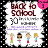 Back to School Activities- Getting to Know You - First Week