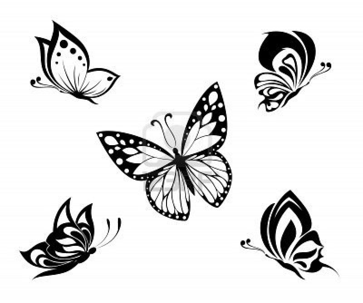 Tattoo Black And White Butterflies Set