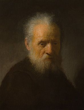 Rembrandt van Rijn, Bearded Old Man, circa 1630, oil on panel, 7 1/4 x 6 11/16 in., Private Collection.