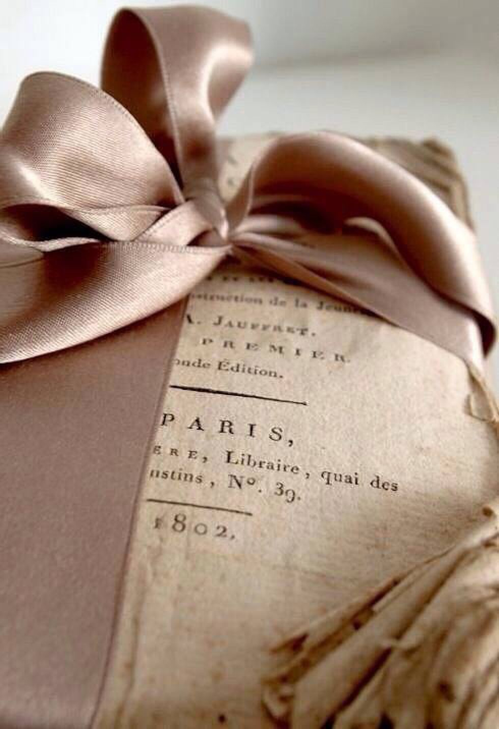 Vintage book and ribbon Beige, Antique books, Wraps