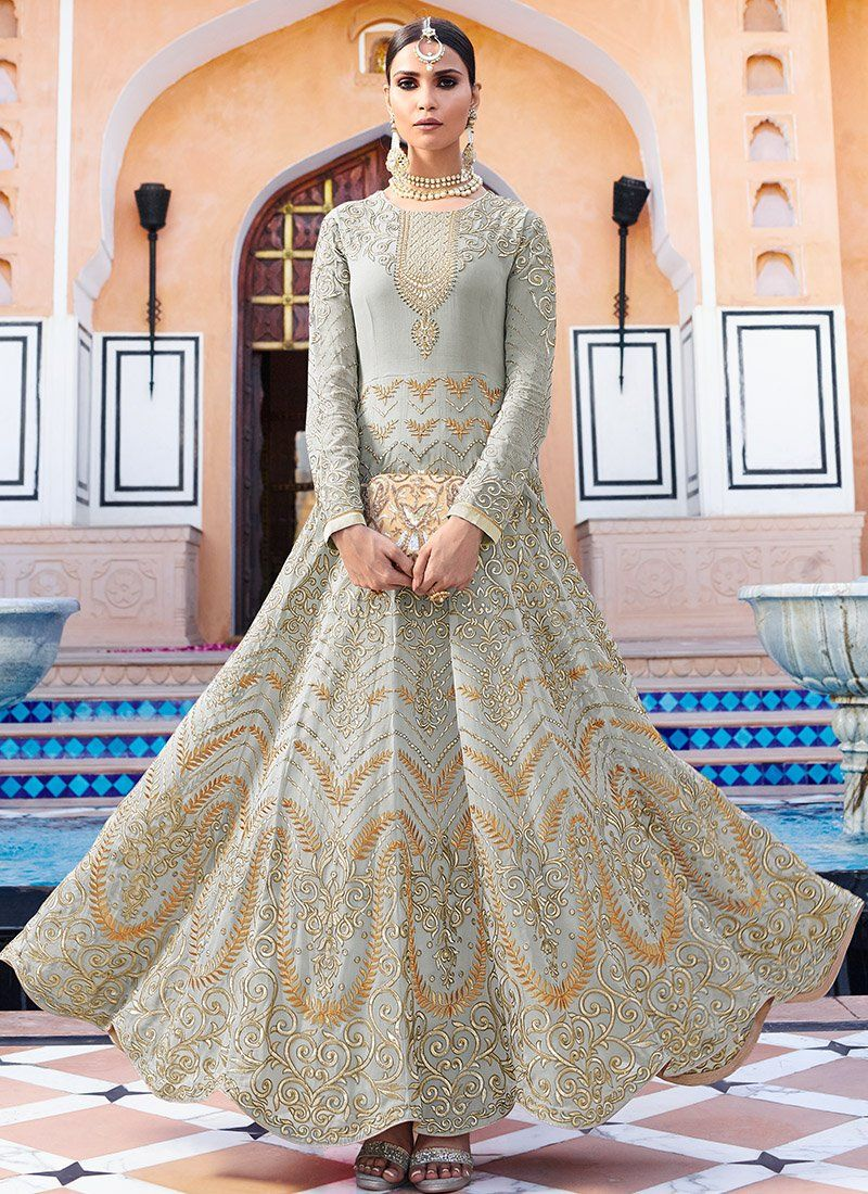 Light grey and gold embroidered royal georgette anarkali suit