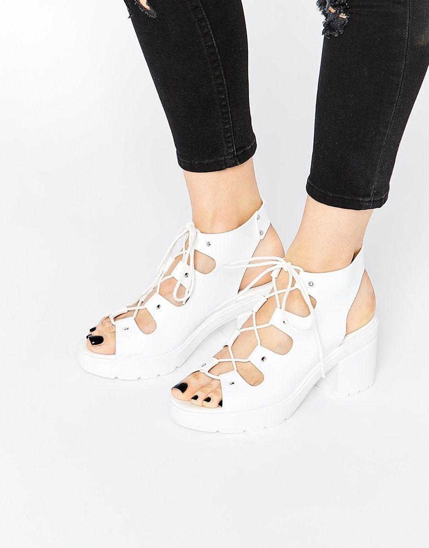 Image 1 ofASOS TEMPT Lace Up Heeled Sandals