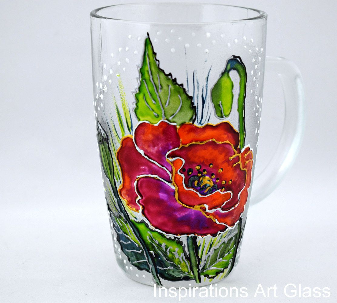 Red poppies mug personalized gift for mom hand painted glass mug red poppies mug personalized gift for mom hand painted glass mug flowers mug negle