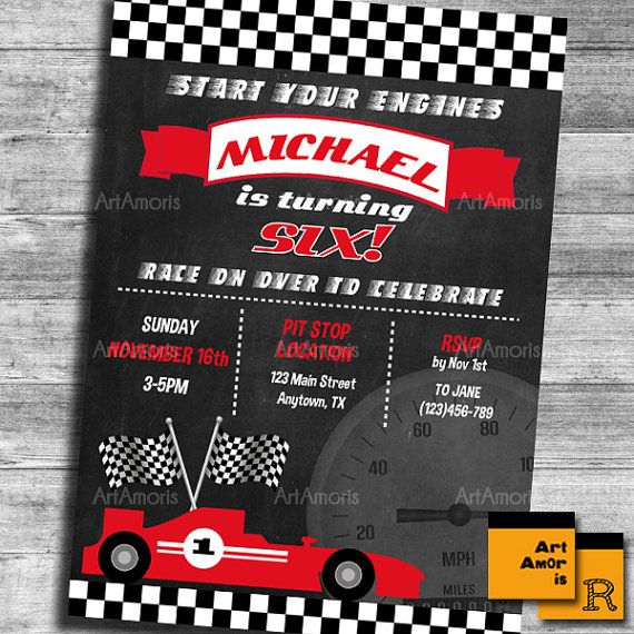 Race Car Birthday Invitation Boy Racing Car Birthday Party Invite
