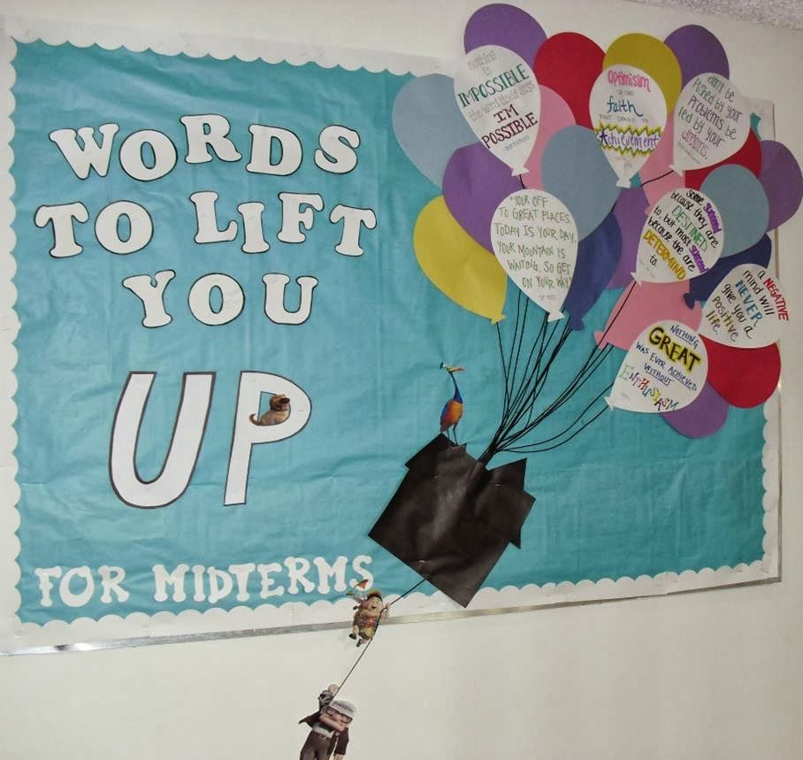 Oct West Campus Winner: Rudolph RA Shannon Markert's bulletin board Words to Lift You Up #rabulletinboards