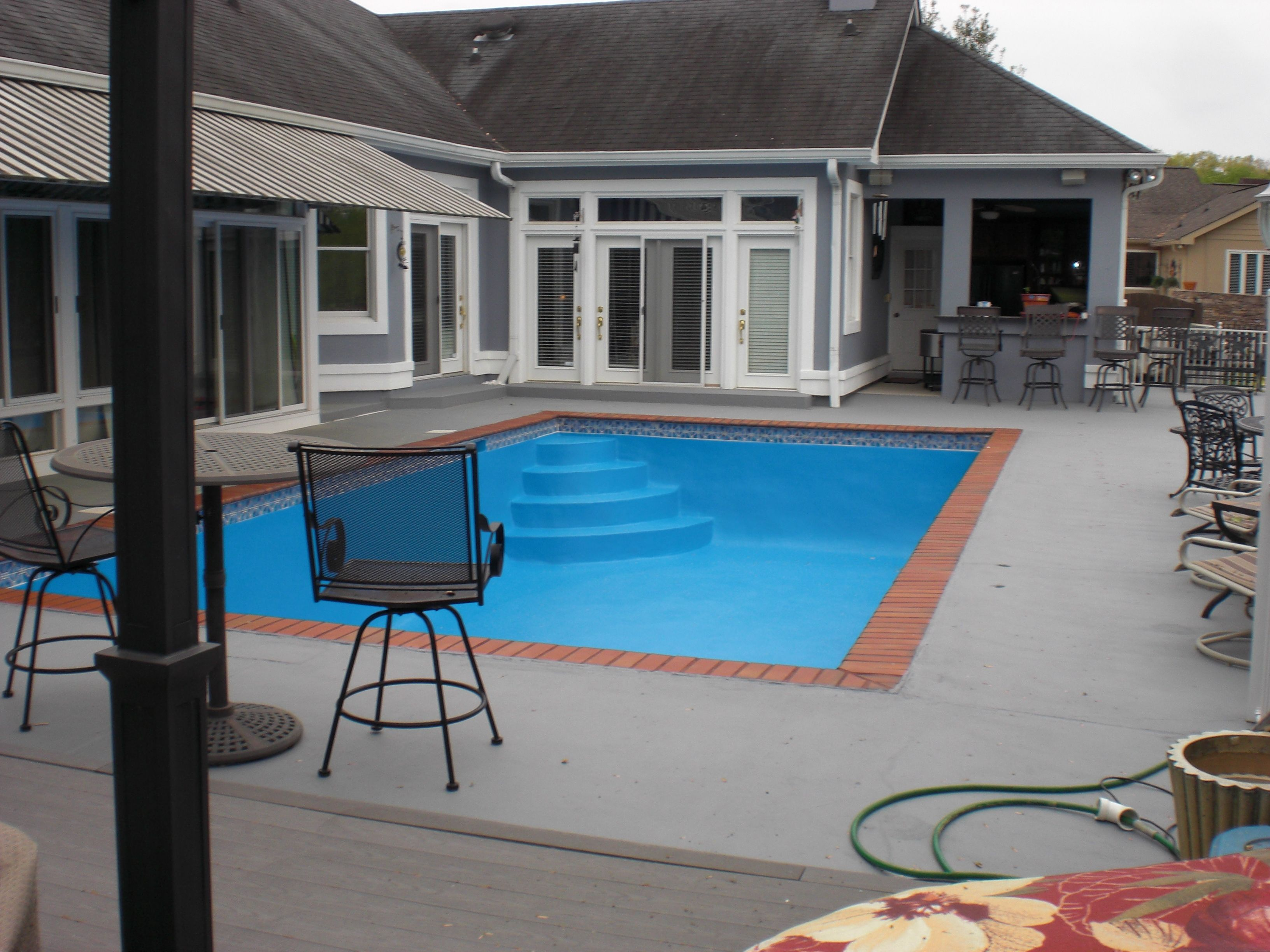 Pool Deck With Solid Concrete Stain In Storm Gray The Pool Was