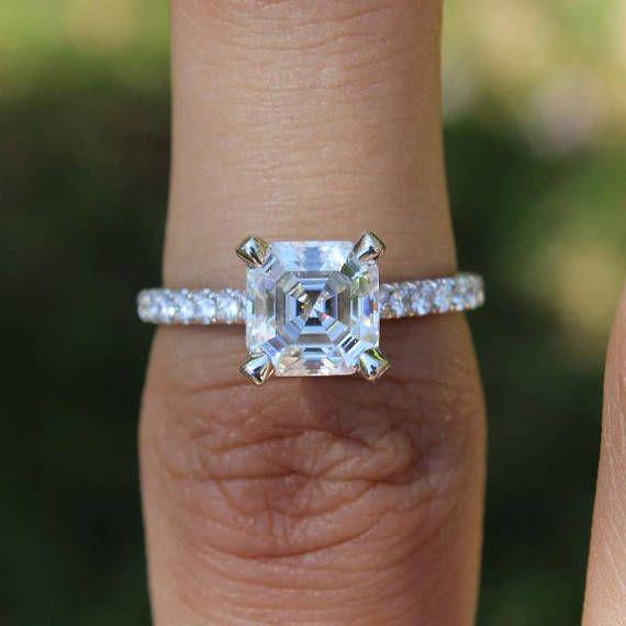 58cc24c1aa1cc 6.5mm Asscher Cut Moissanite & Diamond Engagement Ring 14k White ...