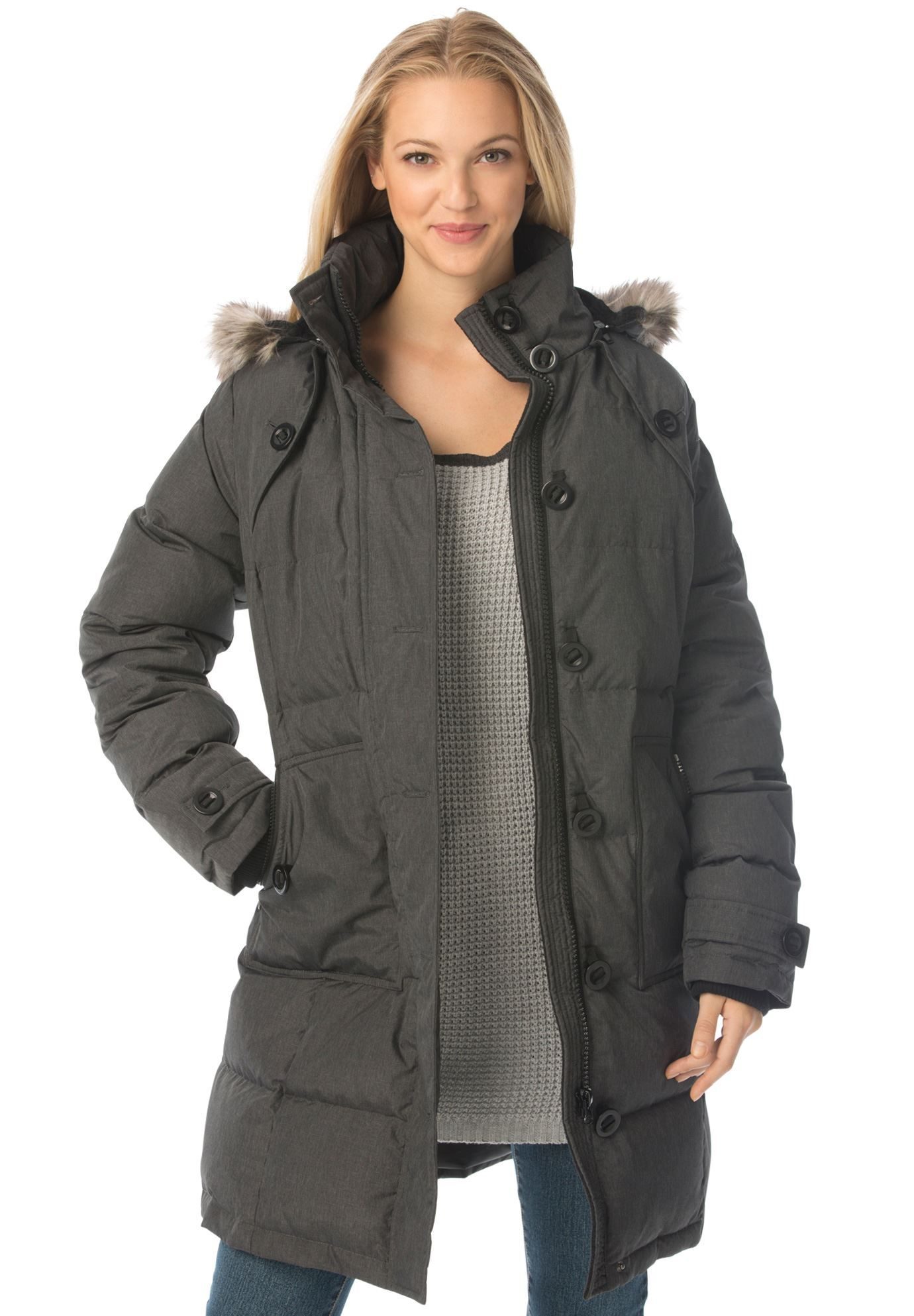 Heathered, hooded down puffer coat Plus size puffer coat