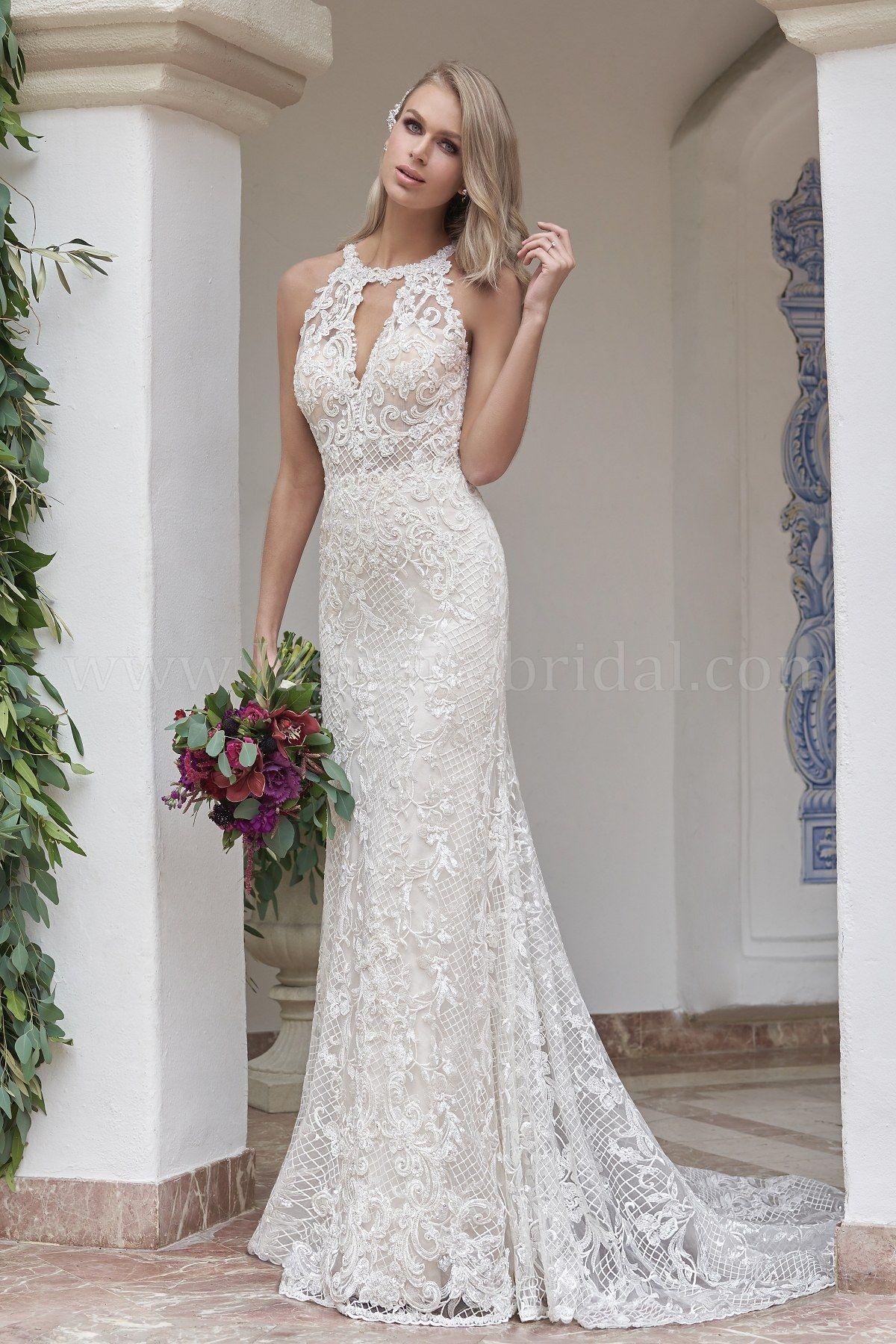 T202057 Illusion Bodice Halter Neckline Sequin Lace Silky Jersey Wedding Dress Wedding Dresses Wedding Dresses Lace Wedding Dresses With Straps