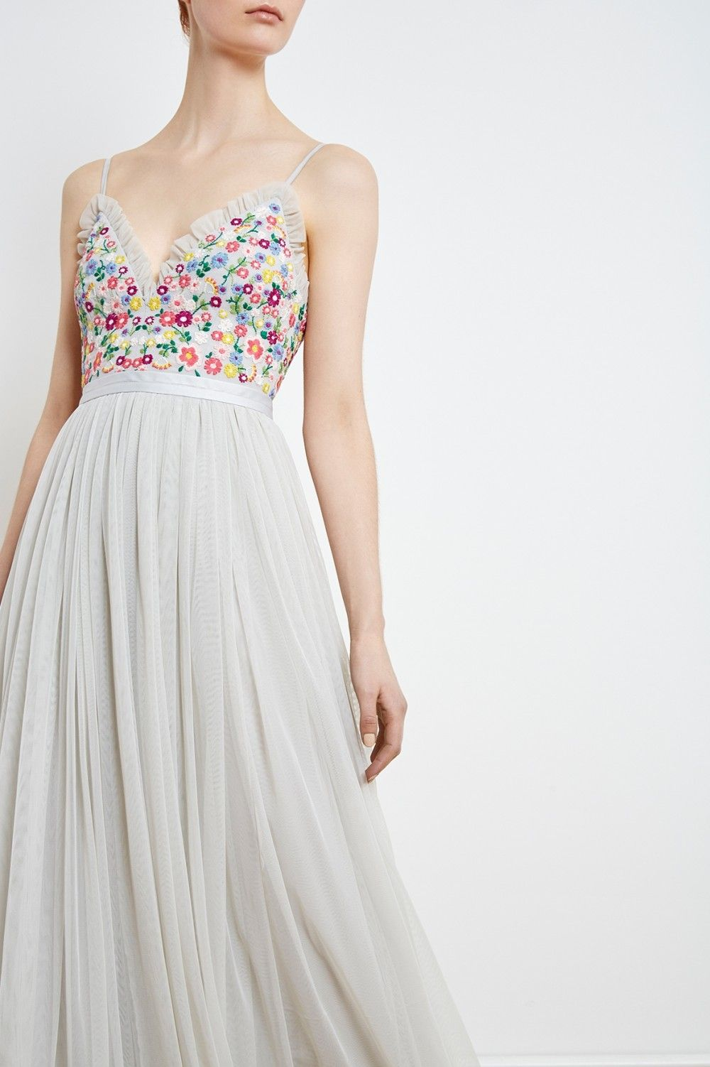 The Lazy Daisy Bodice Maxi Dress In Bleached Blue Consists Of A