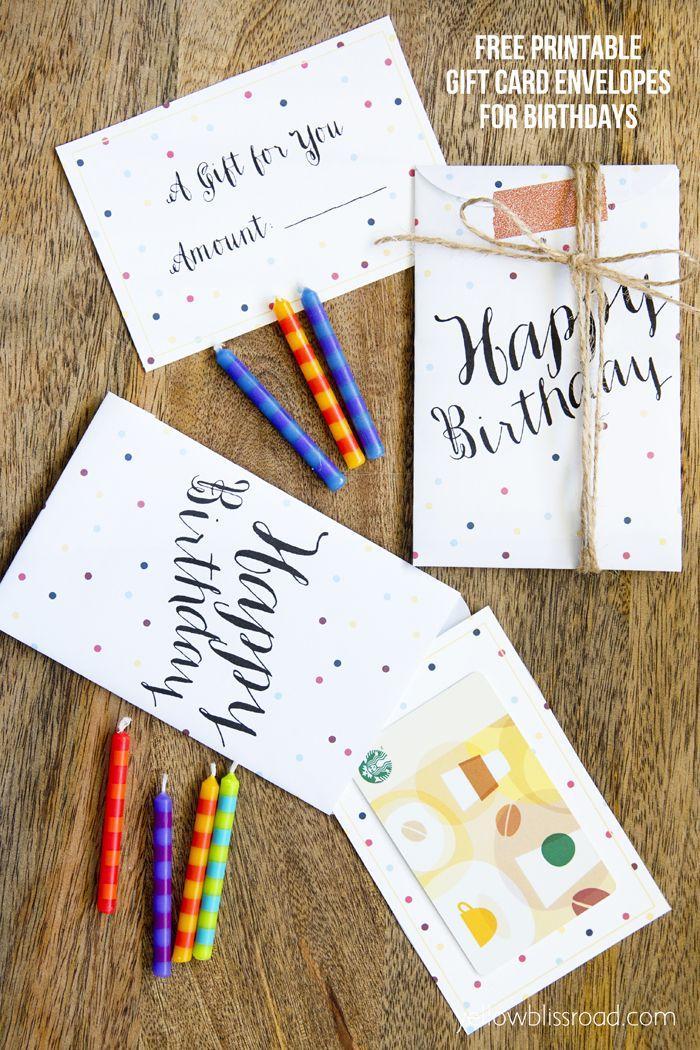 Free Printable Birthday Gift Card Envelopes Pinterest Printable