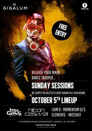 Sunday Sessions at Gigalum, 7-8 cavendish parade, london, SW4 9DW, United Kingdom On Sunday October 05, 2014 at 3:00 pm (ends Sunday October 05, 2014 at 11:00 pm) So we start a new series of epic parties on a Sunday.  We have all the BIG GUNS in the industry, DJ'ing against each other and taking the roof off! Price: free, Artists: lizzie curious, hilton caswell, Category: Bars / Pubs
