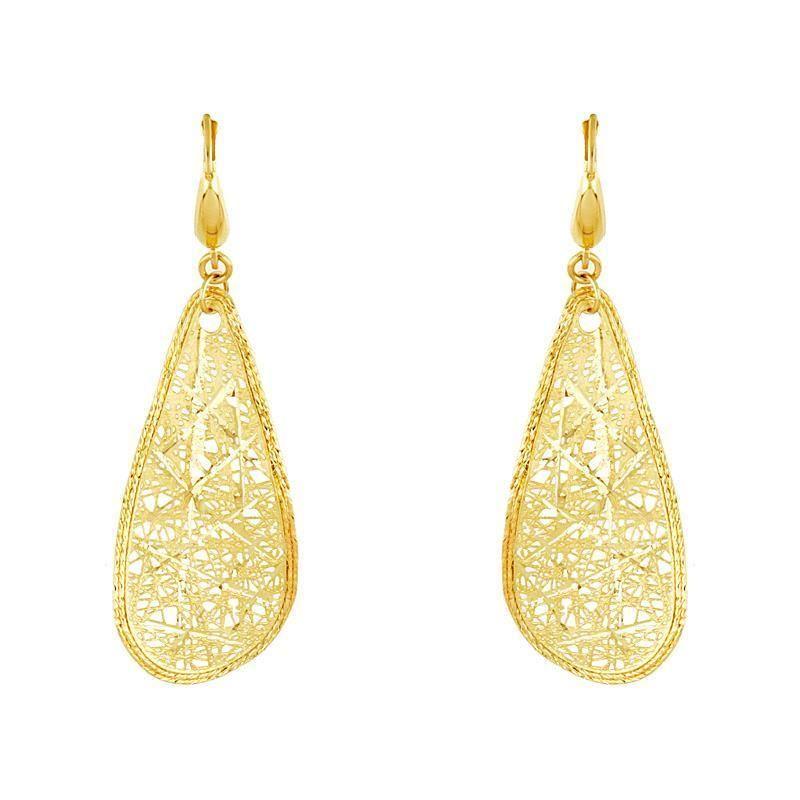 14k Yellow Gold Teardrop Filigree Dangle Earrings