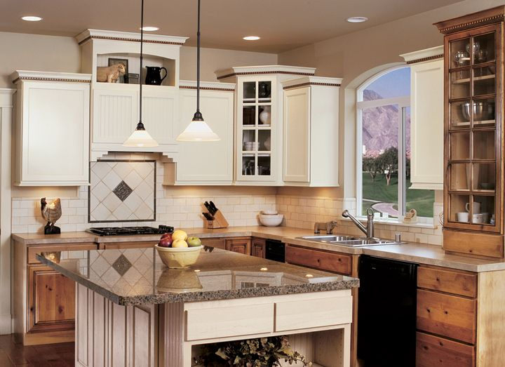 white lower cabinets natural upper cornerstone kitchens alder no handles kitchen remodel on kitchen cabinets no handles id=30931
