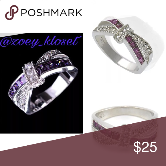Size 8 Women Purple Amethyst Criss Cross Ring Costume jewelry