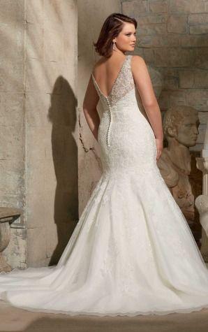 Floor-length,Mermaid Empire Deep V-neck Tulle Floor-length 2015 Wedding Dresses