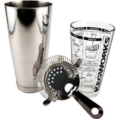 3 pc BOSTON COCKTAIL SHAKER KIT Mixing Glass Stainless Shaker Bar Kit Strainer
