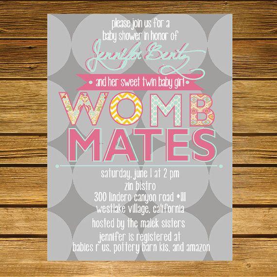 Womb Mates Twins Shower Invitation Gray Pink Aqua Etsy