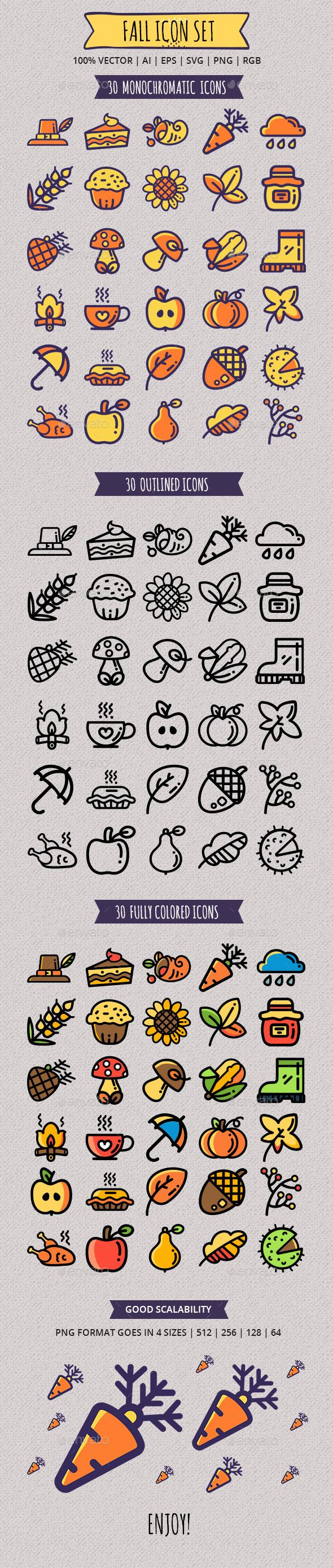 Seasonal Fall Icon Set — Vector EPS cupcake turkey