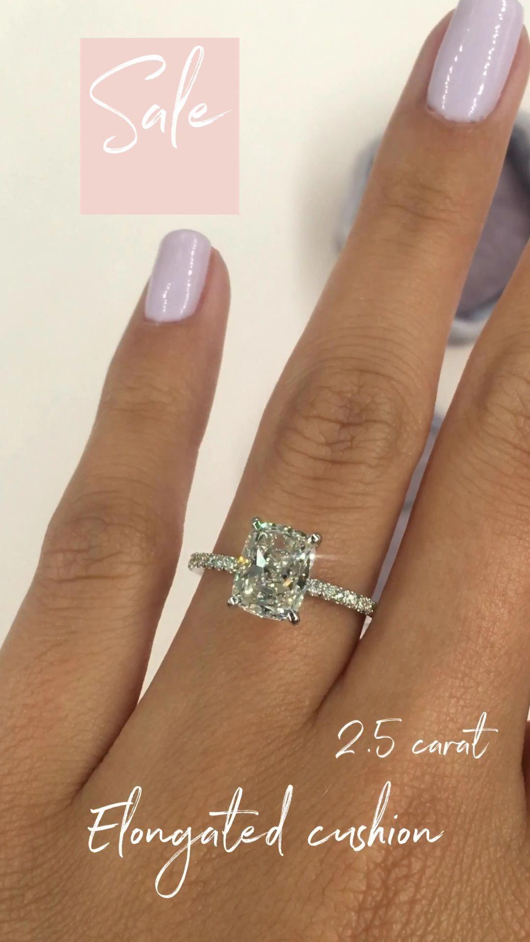 Diamond Engagement Ring, 2.20 Carat Elongated Cush