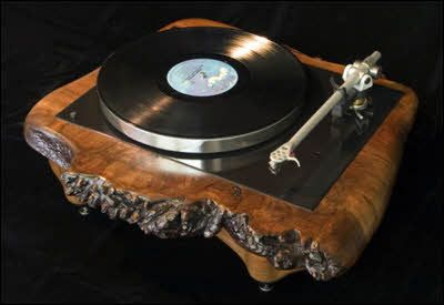 vintage turntables refurbished with custom made burl wood plinths and bases, designed and built by Oakland artist Joel Scilley