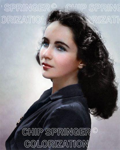 Elizabeth Taylor Young Portrait 1 Beautiful Color Photo By Chip Springer Young Elizabeth Taylor Elizabeth Taylor Elizabeth