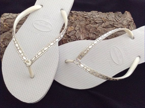 White Flip Flops Havaianas Slim Crystal Rhinestone Beach Etsy Wedding Flip Flops Beach Wedding Flip Flops Bridal Shoes