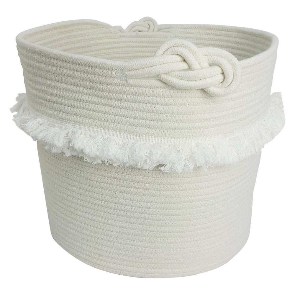White Rope Basket with Fringe Pillowfort, Natural Toy