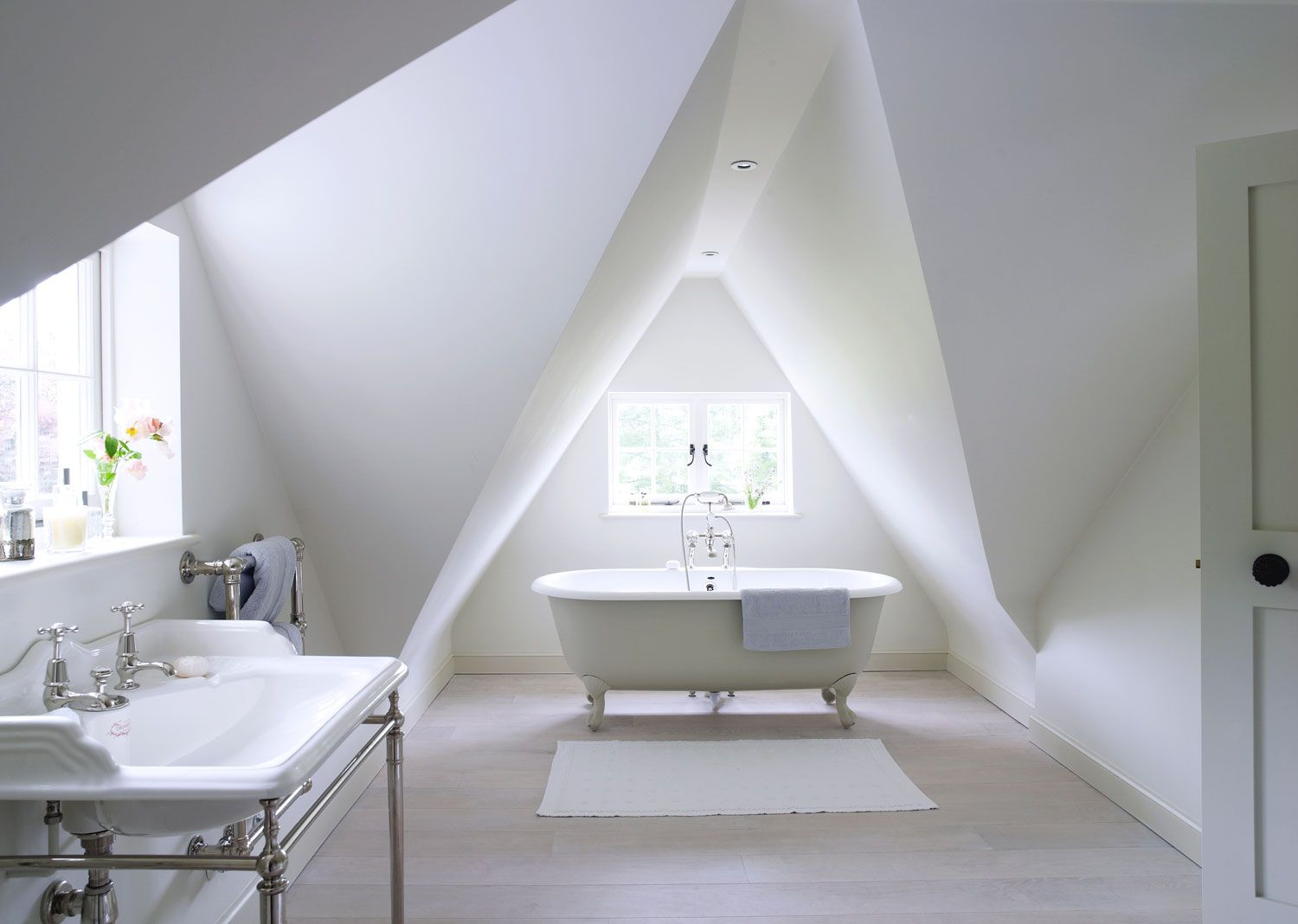 amazing white attic bathroom with free standing clawfoot bath | Our ...